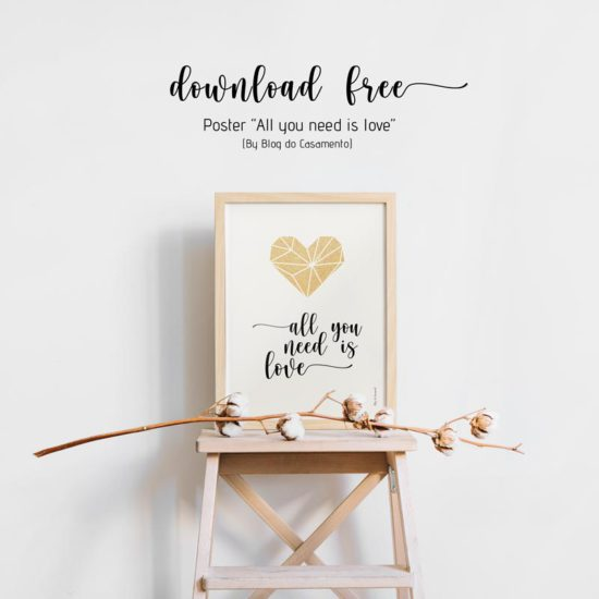 "Poster ""All you need is love"" para mesa de doces"