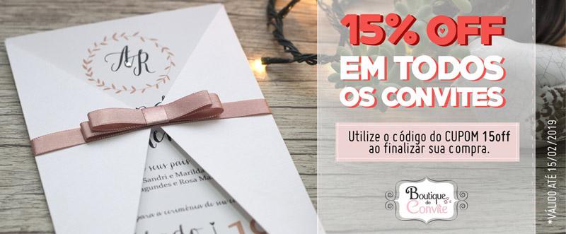 Convites de casamento com 15% de desconto na Boutique do Convite