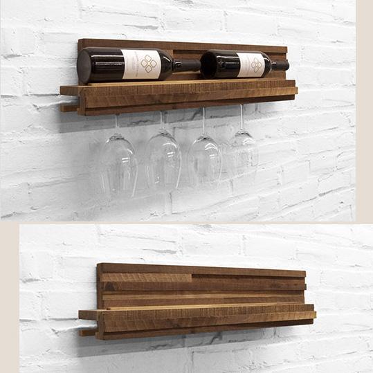 Prateleira para taças e vinhos