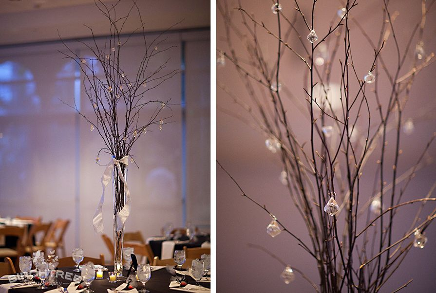 decoração de casamento com galhos secos