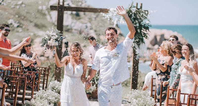 casamento Farol de Santa Martha - chuva de arroz