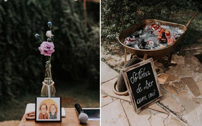 Decoração de casamento com material reciclável