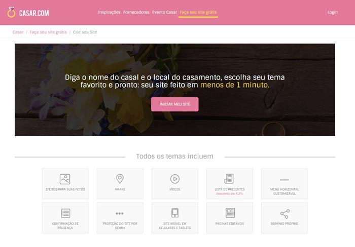 Crie seu site para casamento em menos de um minuto no Casar.com