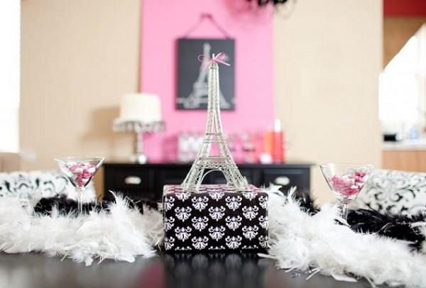 Chá de beleza Parisiense - decoração rosa com preto