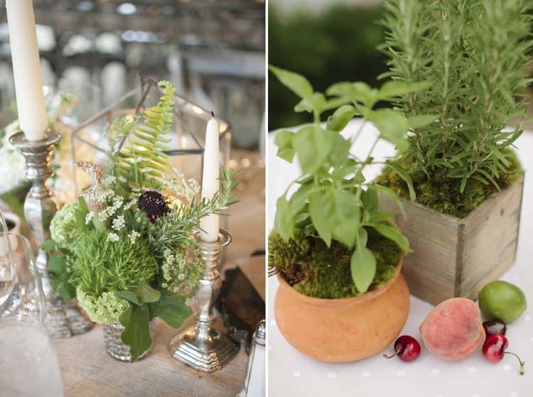 Ervas aromáticas na decoração do casamento - centro de mesa