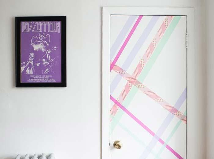 decoração com fita adesiva colorida