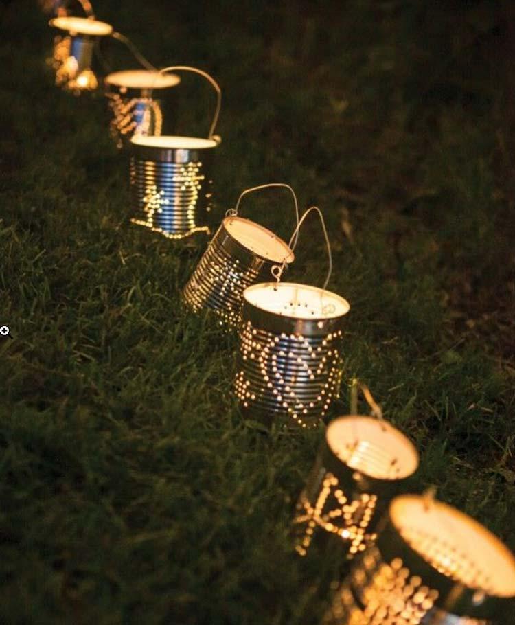 Decoração de jardim - latas