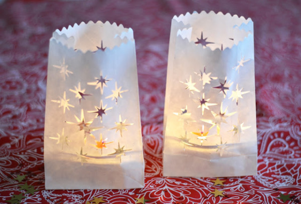 luminária em saquinho de papel