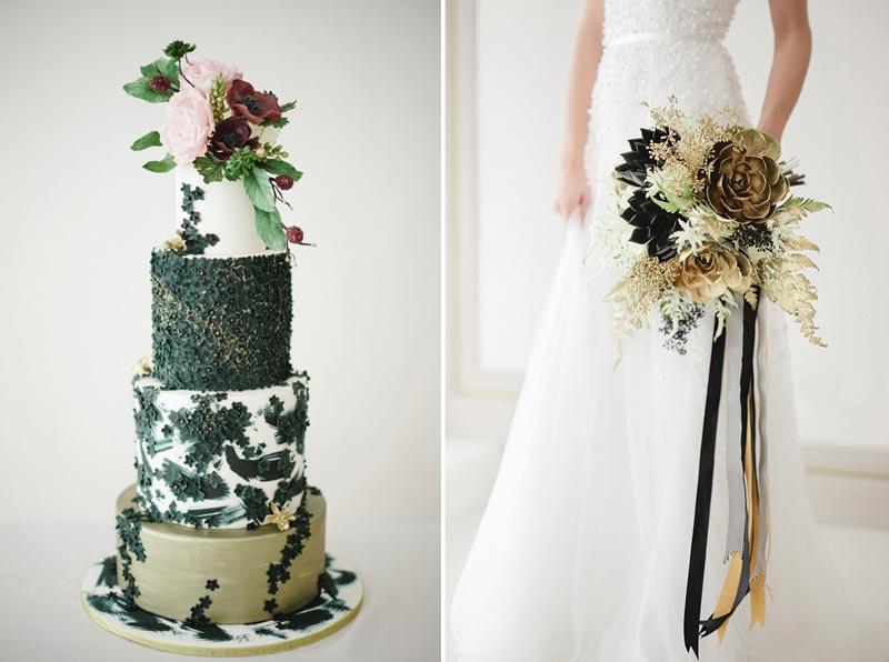 Decoração preta com dourado para casamentos