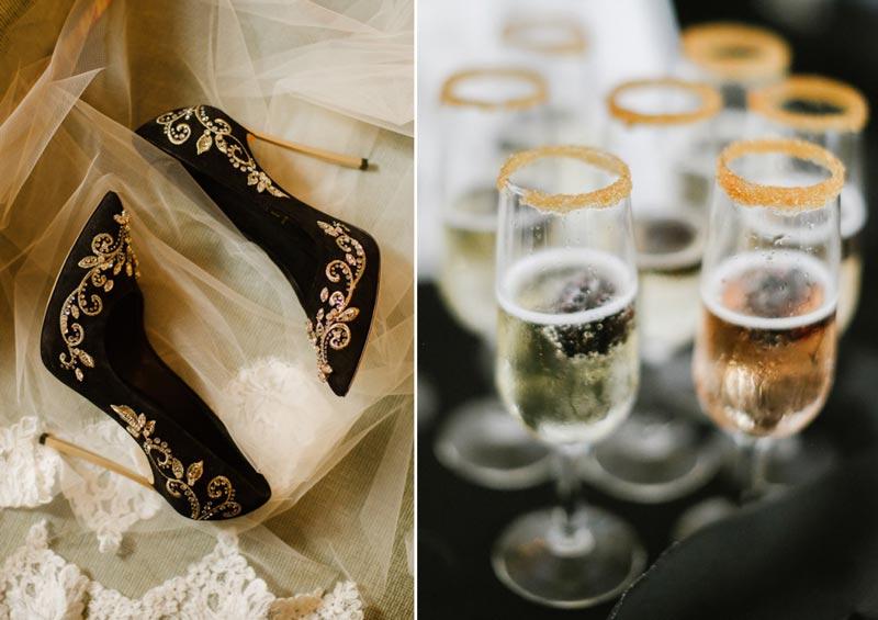 paleta de cores casamento preto e dourado
