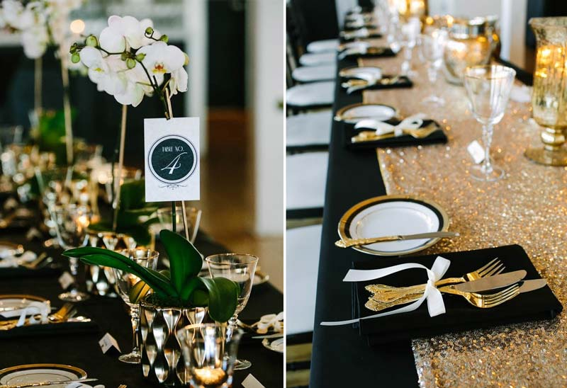 Paleta de cores para casamento: Preto e dourado