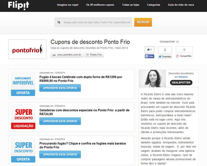 Cupons de desconto da Ponto Frio e Ricardo Eletro via Flipt
