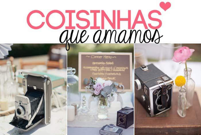 Câmeras antigas na decoração do casamento