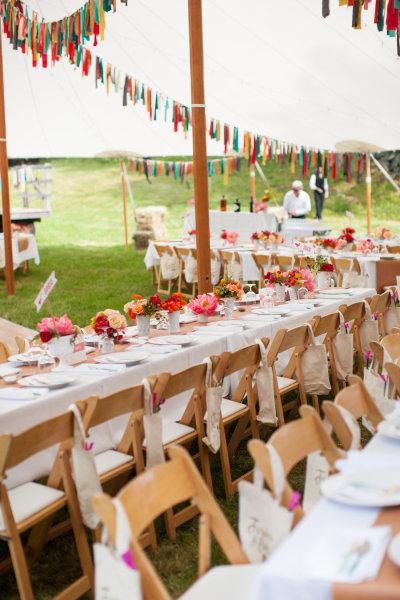 decoração de casamento com retalhos de tecido