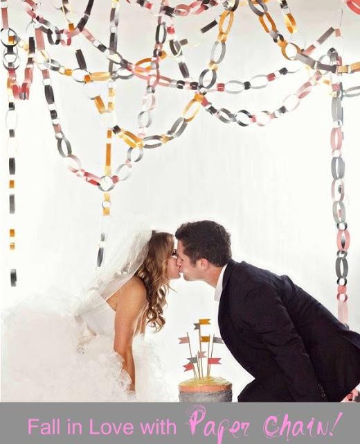 Correntinhas de papel na decoração de casamento