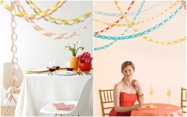 decoração de casamento com correntinhas de papel