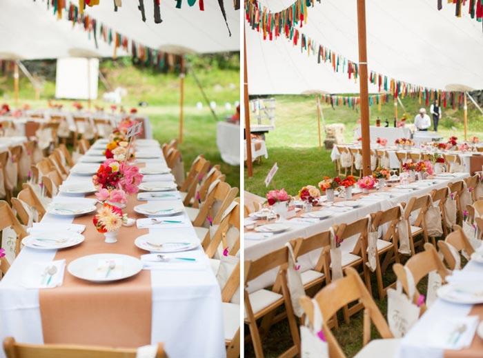 Decoração de casamento com tiras de tecido