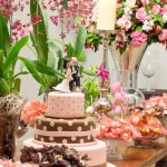 Decoração de casamento marrom com rosa