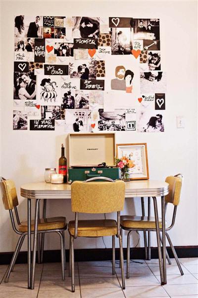 Mural de fotos para decorar a casa