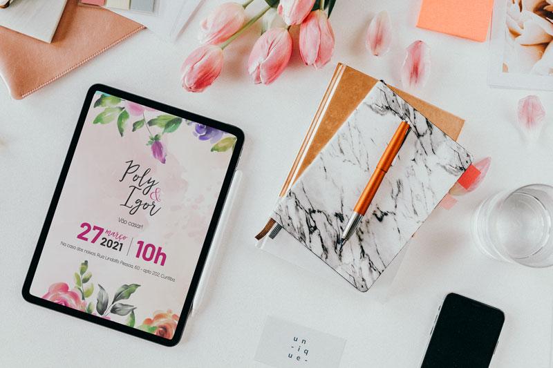 convite digital para casamento poly igor