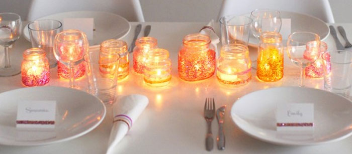 Vidros decorados com glitter